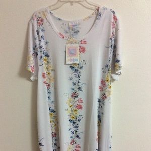 LuLaRoe Jessie Dress White Floral Stripes